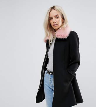 Asos Skater Coat With Pink Faux Fur Collar