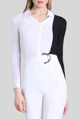 Cushnie Two-Tone Ada Button Up Blouse