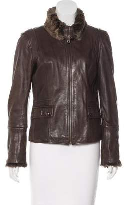 Andrew Marc Fur-Accented Leather Jacket