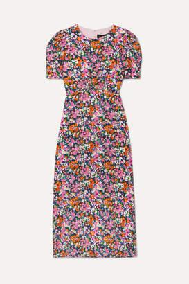 Saloni Bianca Floral-print Silk Crepe De Chine Midi Dress - Pink