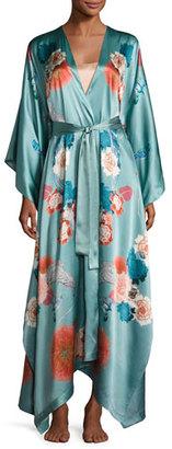Meng V-Neck Floral-Print Long Satin Wrap Robe, Light Green $1,250 thestylecure.com