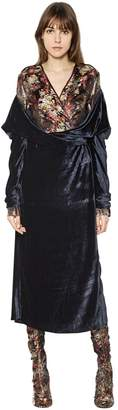 Blend of America Act N°1 Silk Brocade & Draped Velvet Dress