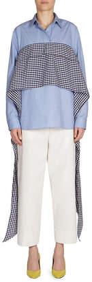 Cédric Charlier Plaid Wrap Bustier Shirt