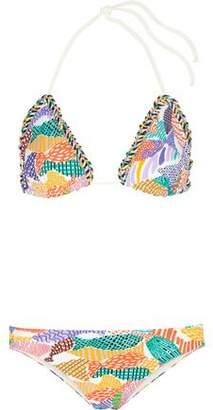 Missoni Crochet Knit-Trimmed Printed Triangle Bikini
