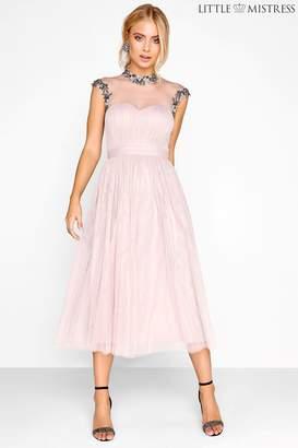 Next Womens Little Mistress Embellished Mesh Bodice Midi Bridesmaid Dress