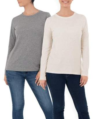 Time and Tru Women's Long Sleeve Crewneck T-Shirt, 2 Pack Bundle
