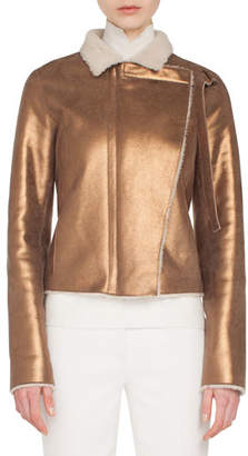 Akris Swan Metallic Curly Lamb Shearling Jacket w/ Asymmetric Front Panel