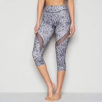 Shock Absorber SHOCK ABSOBER Grey Mesh Insert Printed Activewear Capri Legging