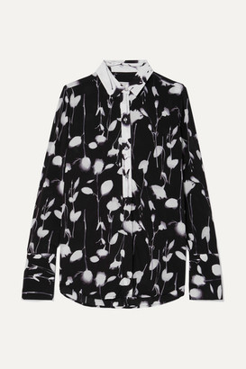 Equipment Eleonore Floral-print Satin Shirt - Black