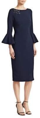 Theia Embellished Bell-Sleeve Sheath Dress