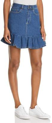 The Fifth Label Frequency Ruffled Denim Mini Skirt