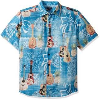 8d0635affab Margaritaville Men s Short Sleeve Printed Cotton Dobby Shirt