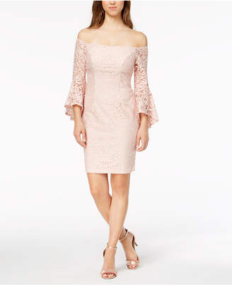 Xscape Evenings Petite Lace Off-The-Shoulder Bell-Sleeve Dress