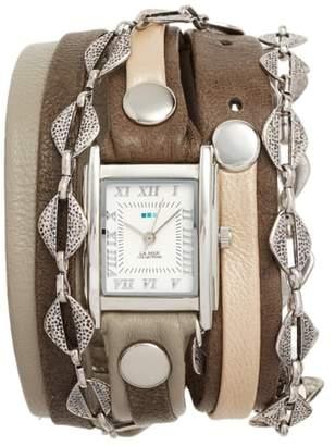 La Mer Leather & Chain Wrap Bracelet Watch, 28mm