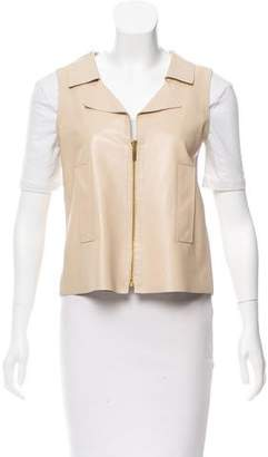 Oscar de la Renta Leather Zip Front Vest
