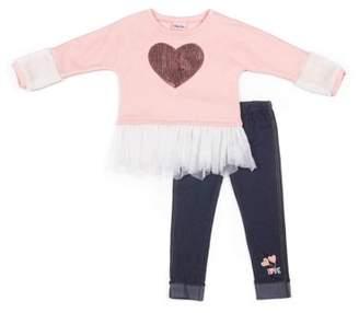 966ec95c7fecb at Walmart.com · Little Lass Faux Fur Trim Heart Fleece Sweatshirt & Knit Denim  Leggings, 2pc Outfit Set