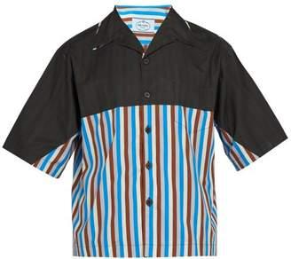 Prada Striped Short Sleeved Shirt - Mens - Blue Multi