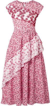 Gül Hürgel - Belted Embellished Floral-print Cotton Dress - Red