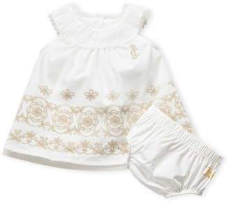 Juicy Couture Newborn Girls) Two-Piece Floral Embroidered Dress & Bloomers Set