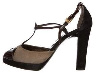 Etro Suede T-Strap Sandals