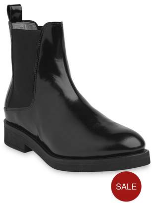 Whistles Leather Arno Rubber Sole Chelsea Boots - Black