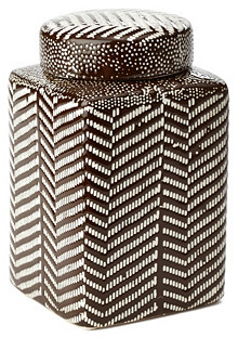 """7"""" Stoneware Canister, Brown/White"""