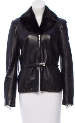Gianni Versace Fur-Trimmed Leather Jacket