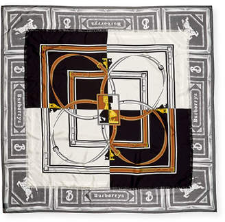 Burberry Two Lovers Paneled Square Silk Scarf