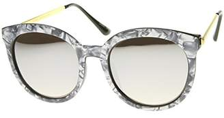 Zerouv Women's Oversized Marble Finish Metal Temple Mirrored Lens Round Sunglasses