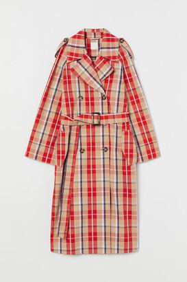 H&M Plaid Cotton Trenchcoat