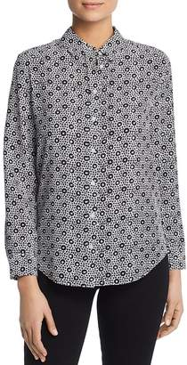 Pi Relative Floral Print Silk Button Front Top