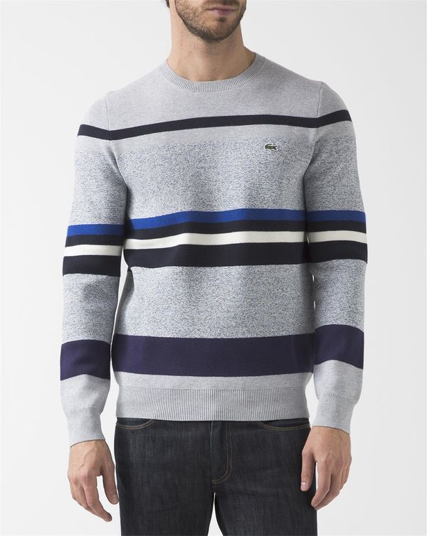 Lacoste LACOSTE Multicoloured Crew-Neck Milano Striped Wool Pullover with Crocodile Logo on Chest