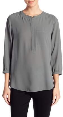 NYDJ Henley 3/4 Sleeve Print Blouse