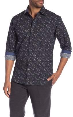 Bugatchi Leaf Patterned Long Sleeve Shaped Fit Shirt