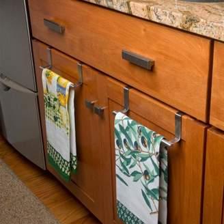 "Evelots Over Cabinet Door Dish Towel Bar Holders, 9.1"" Stainless Steel- Set of 2"