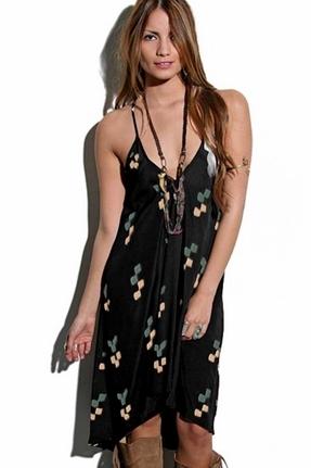 Blu Moon Asymmetrical Dress in Black Navajo