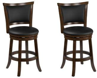 CorLiving Woodgrove Brown Wood Counter Height Barstool with Bonded Leather Seat, set of 2