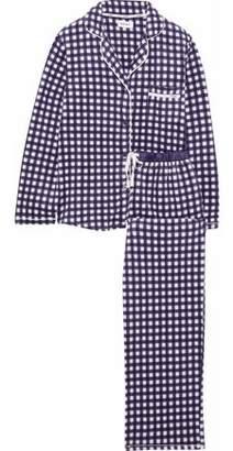 DKNY Gingham Satin-Trimmed Fleece Pajama Set