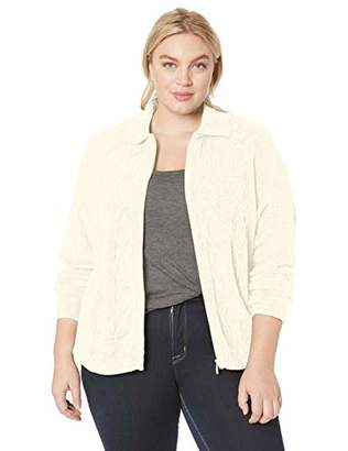 Alfred Dunner Women's Size Plus Chenille Textured Cable Knit Zip Front Cardigan
