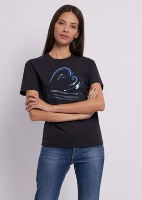 edbcb370250 Emporio Armani Lightweight Cotton Jersey T-Shirt With Blue Waves Print