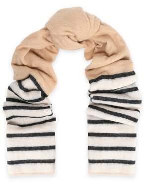 Brunello Cucinelli Striped Two-Tone Intarsia-Knit Scarf