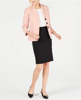 Le Suit Petite Stretch Crepe 3-Button Skirt Suit