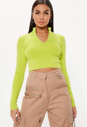 Missguided Lime High Neck Zip Cropped Top