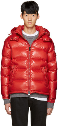 Moncler Red Maya Down Jacket $1,070 thestylecure.com