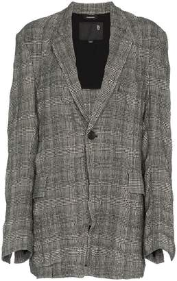 R 13 single breasted check wool cotton-blend blazer