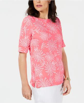 Karen Scott Printed Elbow-Sleeve Boat-Neck Top