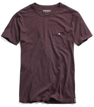 Todd Snyder Made in L.A. Garment Dyed Pocket Tee in Burgundy