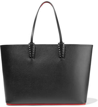 Christian Louboutin Cabata Spiked Textured-leather Tote - Black