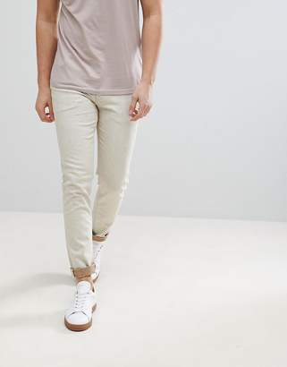 Asos DESIGN Skinny Jeans In Ecru With Nep