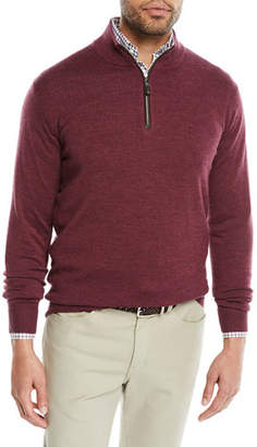 Peter Millar Men's Crown Soft Leather-Trim Quarter-Zip Sweater